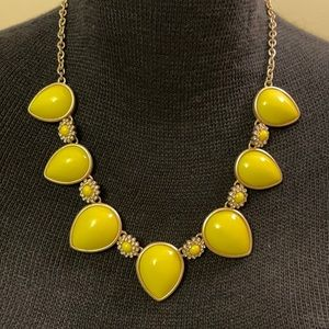 J Crew yellow tear drop beads & crystals necklace